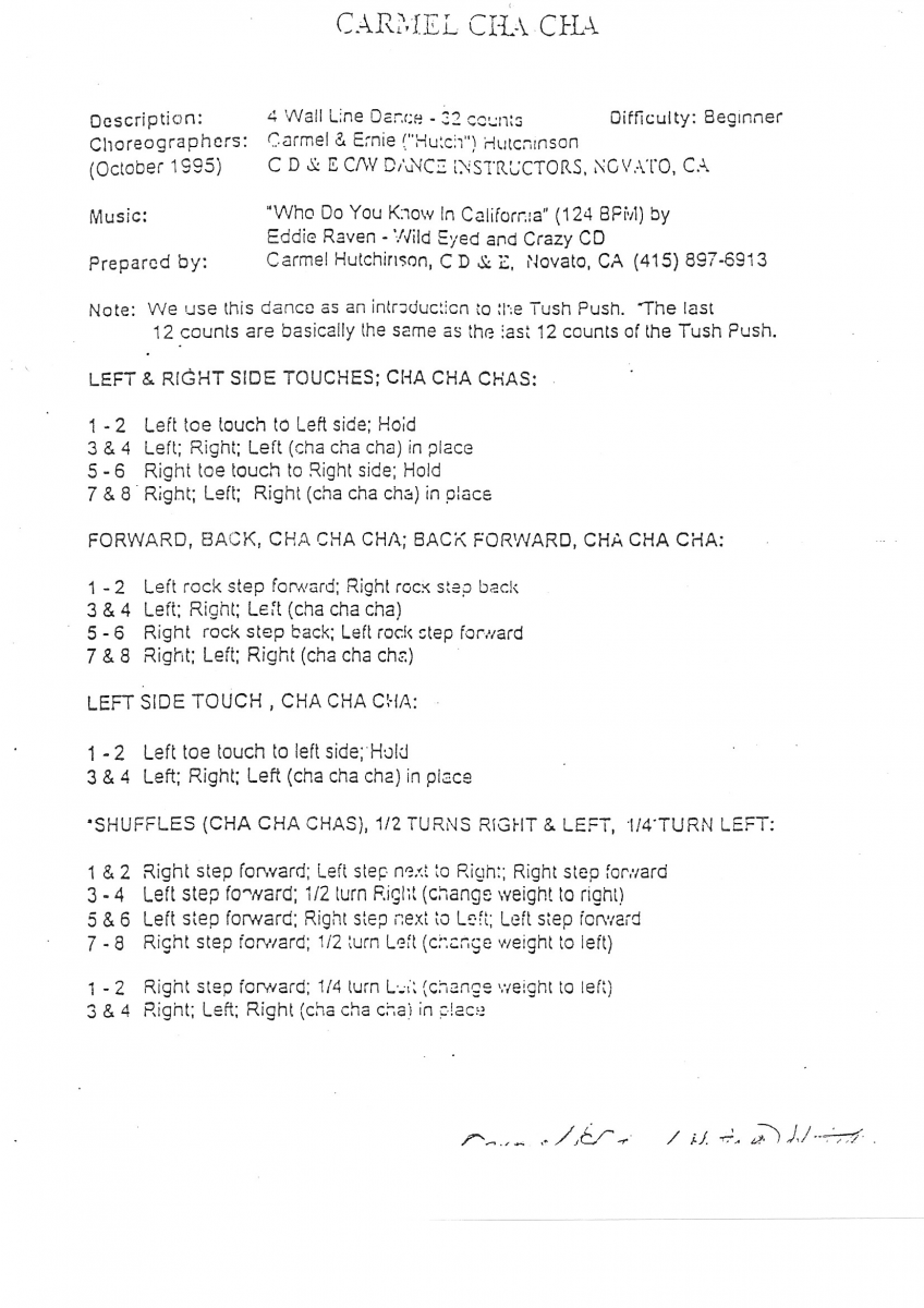Scan on Line Dancing Step Sheets